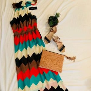 Dresses & Skirts - NWT- Chevron Tie Neck Maxi Dress- Size Small
